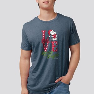 Snoopy Love Merry And Brigh Mens Tri-blend T-Shirt