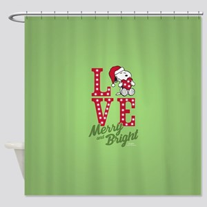 Snoopy Love Merry And Bright Shower Curtain