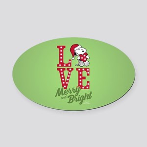 Snoopy Love Merry And Bright Oval Car Magnet