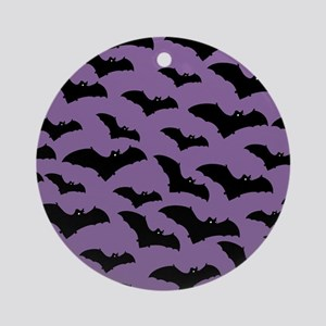 Spooky Halloween Bat Pattern Ornament (Round)