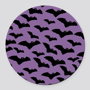 Spooky Halloween Bat Pattern Round Car Magnet