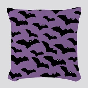 Spooky Halloween Bat Pattern Woven Throw Pillow