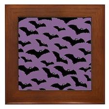 Spooky Halloween Bat Pattern Framed Tile