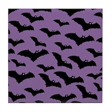 Spooky Halloween Bat Pattern Tile Coaster