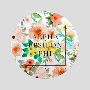 """Alpha Epsilon Phi Floral 3.5"""" Button"""