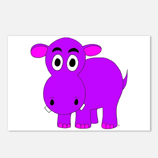Purple Hippo Postcards (Package of 8)