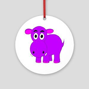 Purple Hippo Ornament (Round)