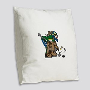Goalie Girl Burlap Throw Pillow