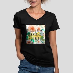 Alpha Epsilon Phi Flor Women's V-Neck Dark T-Shirt