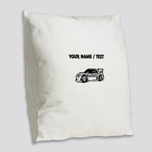 Custom Race Car Burlap Throw Pillow