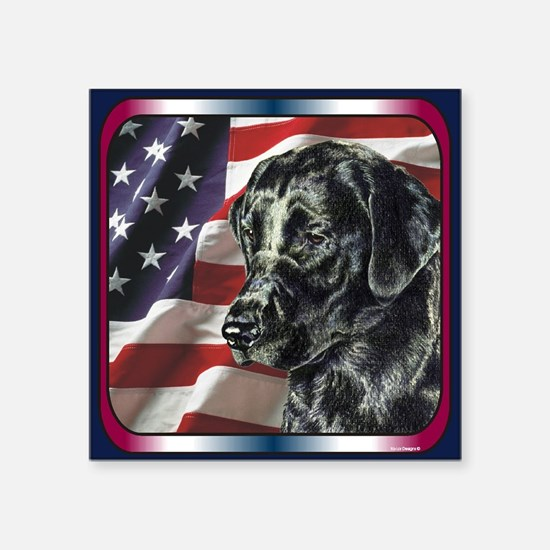 "Cute Labrador retriever flag Square Sticker 3"" x 3"""