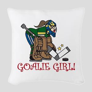 Goalie Girl Woven Throw Pillow