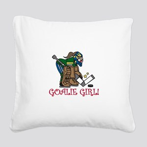 Goalie Girl Square Canvas Pillow