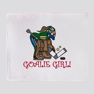 Goalie Girl Throw Blanket