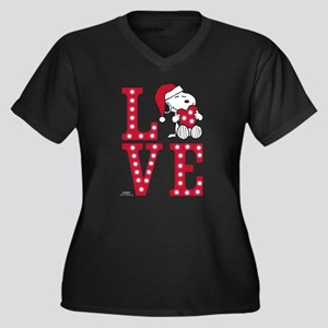 Snoopy Love Women's Plus Size V-Neck Dark T-Shirt