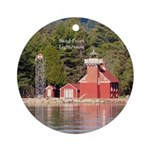Sand Point Lighthouse Baraga Round Ornament