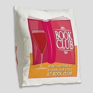 What Happens At Book Club Burlap Throw Pillow