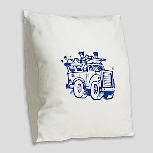 Garbage Truck Burlap Throw Pillow