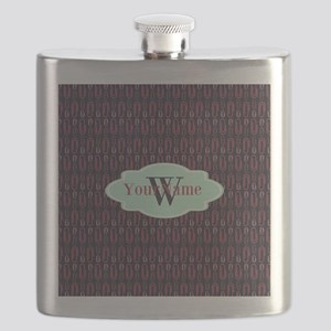 Monogrammed Paper Clips Pattern Flask