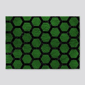 HEXAGON2 BLACK MARBLE & GREEN LEATH 5'x7'Area Rug