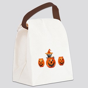 Halloween Pug Dog Canvas Lunch Bag