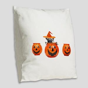 Halloween Pug Dog Burlap Throw Pillow