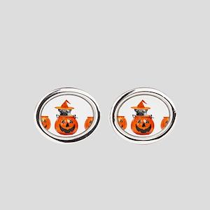 Halloween Pug Dog Oval Cufflinks