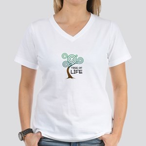 """Tree of Life, Proverbs 3:17-18"" Women's V-Neck T-"