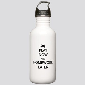 Play now homework later Water Bottle