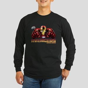 Iron Man Fists Long Sleeve Dark T-Shirt