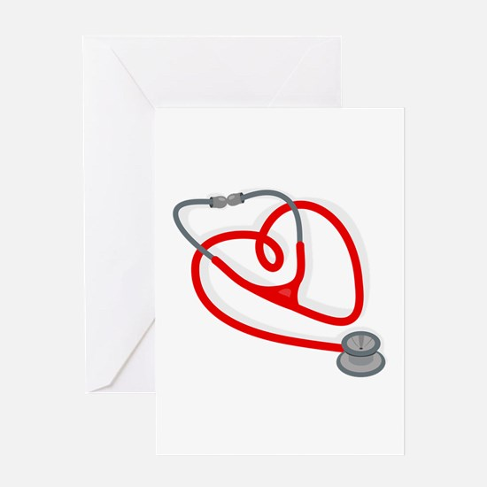 Stethoscope Heart Greeting Cards