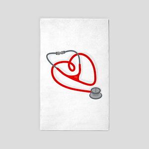 Stethoscope Heart 3'x5' Area Rug