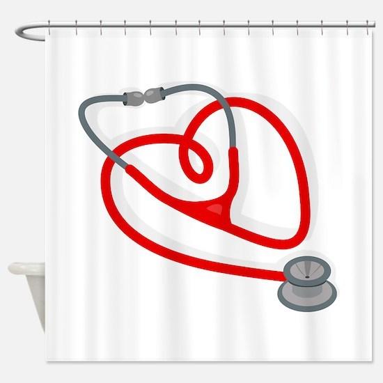 Stethoscope Heart Shower Curtain