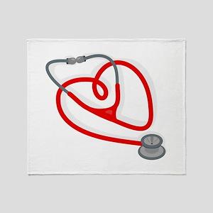Stethoscope Heart Throw Blanket