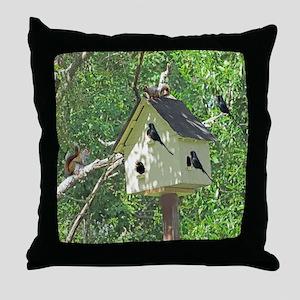 Cute Birdhouse Throw Pillow