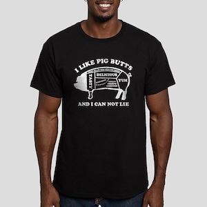 I Like Pig Butts WHT Men's Fitted T-Shirt (dark)