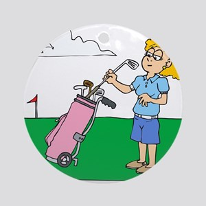 girl with pink golf bag Ornament (Round)