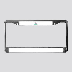 blonde happy golfer in pink License Plate Frame