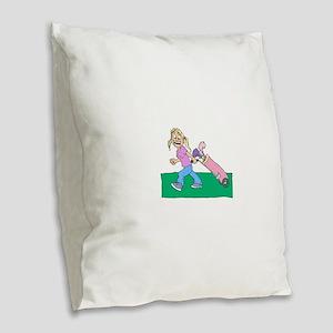 blonde happy golfer in pink Burlap Throw Pillow