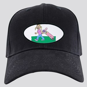 blonde happy golfer in pink Baseball Hat