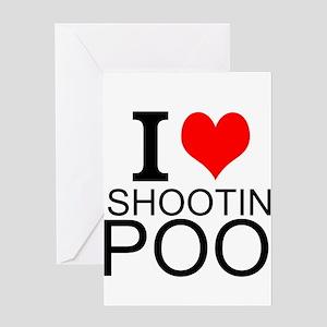 I Love Shooting Pool Greeting Cards