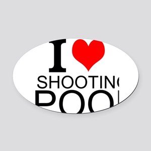 I Love Shooting Pool Oval Car Magnet
