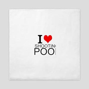 I Love Shooting Pool Queen Duvet