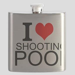 I Love Shooting Pool Flask