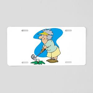 granny golfer Aluminum License Plate