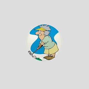 granny golfer Mini Button
