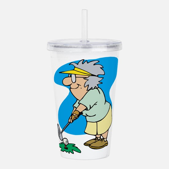 granny golfer Acrylic Double-wall Tumbler