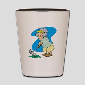 granny golfer Shot Glass