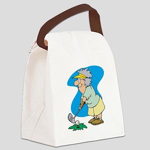 granny golfer Canvas Lunch Bag
