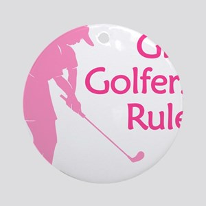 pink girl golfers rule Ornament (Round)